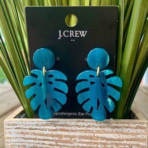 J. Crew Teal Tortoise Leaf Earrings NWT